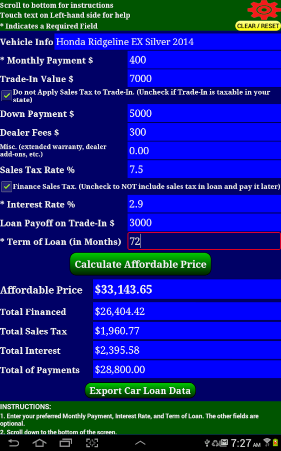 Auto Car Loan Payment Calculator Pro