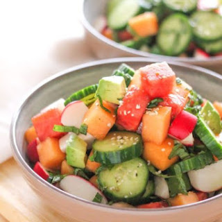 Hydrating Cucumber, Melon and Avocado Salad.