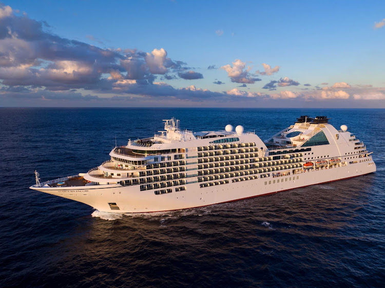An aerial of Seabourn Encore, the luxury ship that debuted in early 2017.