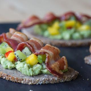Avocado Toasties with Kiwi Mango Salsa and Crisp Bacon