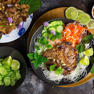 Vietnamese Grilled Pork Chops With Chilled Rice Noodles.