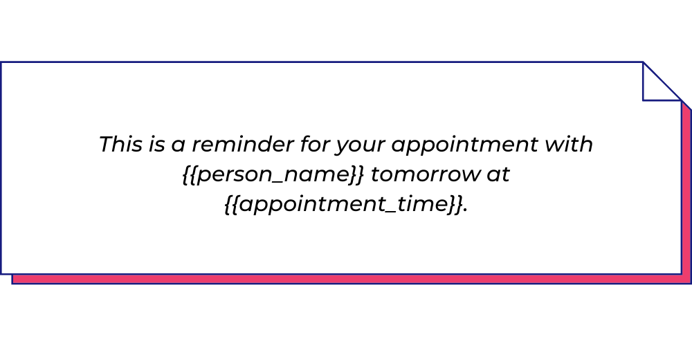 Use this reminder WhatsApp template to send in-person meeting reminders..