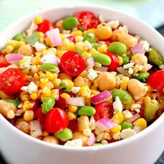 Corn, Edamame, and Chickpea Salad.