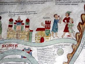 """Photo: Über Scitia """"Die Stadt SAMARKAND liegt in Gazarin, eine skythische Landschaft. Mit einem Umfang von 100 Meilen ist sie größer als Babylon und wird gemeinsam von einem heidnischen und einem christlichen König regiert. -   SKYTHIEN erstreckt sich vom äußersten Osten bis zum Ozean, von Süden bis zum Kaukasischen Bergrücken und grenzt im Westen an Hyrkanien. Skythien hat 44 Völker und große Flüsse: den Oscorus, den Phasidis, den Yrarin (=Araxes). Es gibt dort vielerlei Edelsteine, Gold und Gemmen. Die Völker werden von riesigen Greifen heimgesucht. Diese ..."""" Daneben ALEXANDRIA- """"Die Region Baktrien hat den Namen vom Fluß Baktrus. Sie wird auf der einen Seite vom Oberlauf des Indus begrenzt, auf der anderen Seite vom Baktrus umschlossen. Das Land liefert die besten und stärksten Kamele. Es schließt an Hyrkanien an, das nach dem gleichnamigen Wald genannt ist. Dort gibt es Vögel, deren Federn in der Nacht leuchten. An Baktrien fügt sich, westwärts gesehen, zunächst das westliche Indien, dann Kappadokien."""