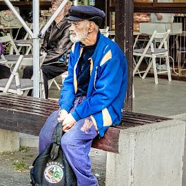 Waiting for the Bus by Richard Michael Lingo - People Street & Candids ( bus, street, candids, man, people )
