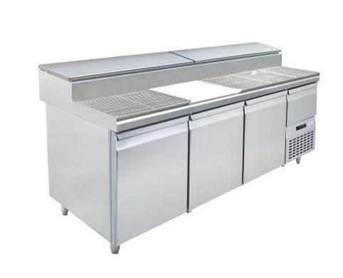 Fastfood tafels S1-1980 3 - DEURS PIZZA TAFEL - MET INGEBOUWDE GEKOELDE SALADETTE