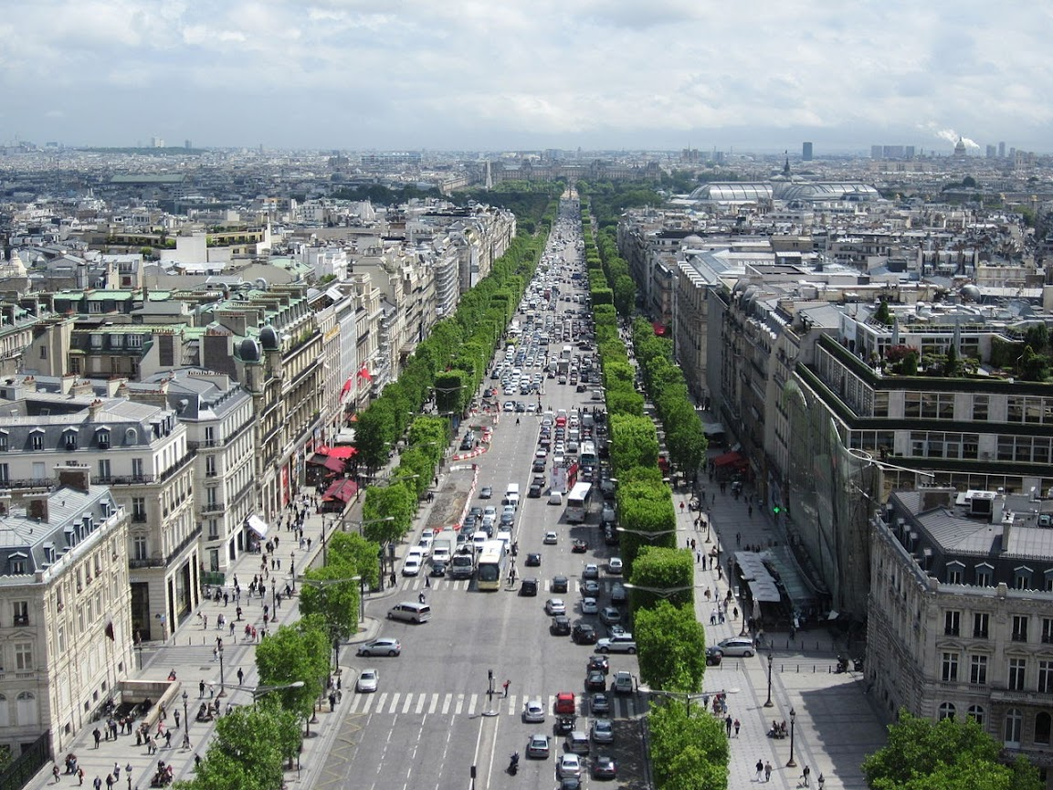 The Champs Élysées as seen from the Arc de Triomphe 2011.