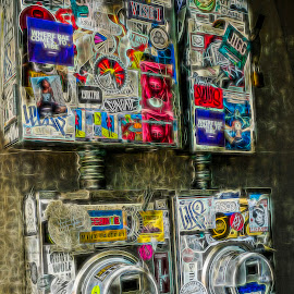 Sticker Shock by Sandy Friedkin - Digital Art Abstract ( electric meters, on surface, textured, stickers, decoration )