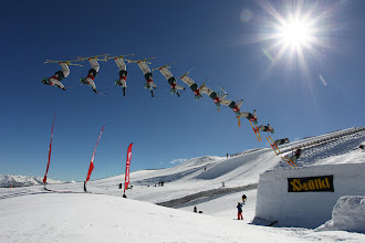 Photo: Hi everyone, here's Wanaka-based +Josiah Wells on his winning run of the 2011 North Face Free Ski Open at Snow Park, New Zealand.  This is my first attempt at a composite action shot. I've seen and admired many in the past, but never really had the opportunity to create one myself. Then just over a week ago I attended the North Face Free Ski Open at nearby Snow Park with +Stefan Haworth and +Scott Kennedy , and with +MILES HOLDEN also in attendance doing some amazing stuff with everything from a 15mm fisheye to a 600mm super-telephoto.  I'd primarily gone along to test Canon's new EF 8-15mm Fisheye lens on an EOS 1D Mark IV body I'd borrowed from my friend Blair. I really wanted Stefan and Scott to have a go on the lens during the event but increasing wind saw the schedule compressed and before I realised it we were running out of time with only a couple of runs remaining. I handed the 8-15mm over to Stefan (who's photos you'll see in my upcoming review of the lens along with in his own blog next week), and switched to an EF 17-40mm - a lens I previously considered to be quite wide until this point.  Both Stefan and Miles had been extolling the virtues of shooting into the Sun with a small aperture to generate a nice starburst effect, so I closed the 17-40mm down to f16. I set the shutter speed to 1/2000 in Manual and had to boost the sensitivity up to 800 ISO to balance the exposure. I pre-focused on the point where I thought the skiier would be and set the drive to Continuous High, at which point the 1D Mark IV rattles-off 10fps. All I had to do then was to wait for the next competitor to sail past.  As luck would have it, I was setup just in time to catch the final run of Jossi Wells as he performed this amazing move. I pressed the shutter as I heard the announcer saying he'd completed the previous jump and didn't let go until I was sure he was gone.  As I replayed the images I realised I had some ideal action for a composite shot. I wasn't sure how to go 