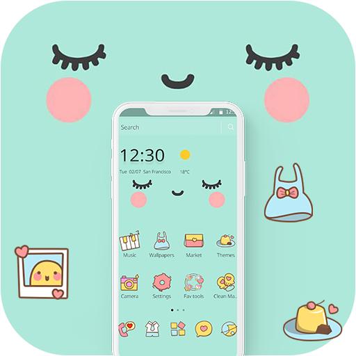 Blue Cute Cartoon Sweet Face Theme Apps On Google Play