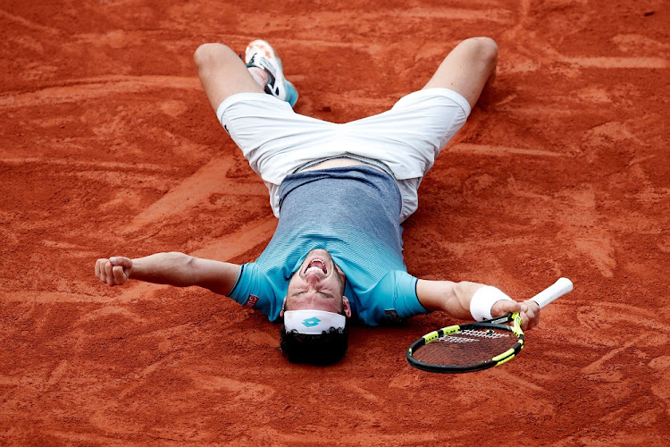 Italy's Marco Cecchinato celebrates winning his quarter final match against Serbia's Novak Djokovic at the French Open in Paris, France, June 5 2018. Picture: REUTERS