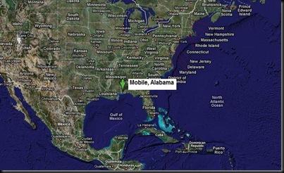 Localização de Mobile nos EUA e Golfo do México