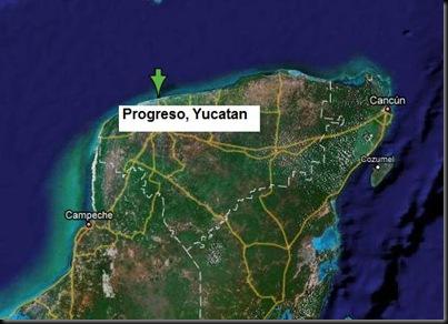 Progreso, onde vou passar o meu aniversário. À direita consegue ver-se a ilha de Cozumel
