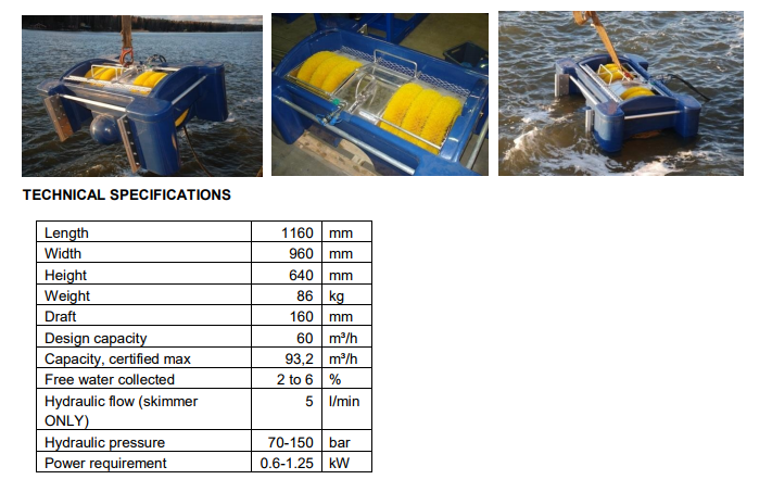 Brush Skimmer Minimax and it's specifications