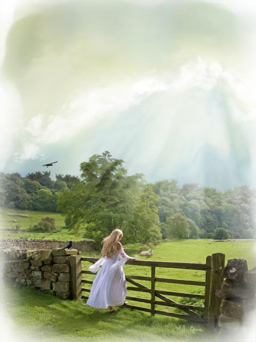 mulher no campo,paisagem linda,sol,natureza
