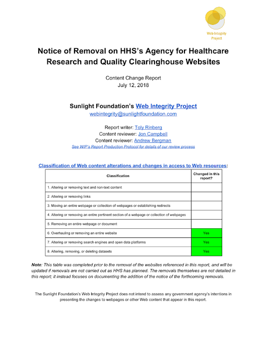 WIP Report: HHS - AHRQ Scheduled Website Removal