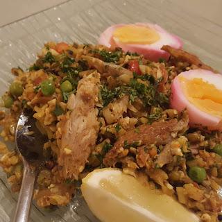 Smoked Mackerel Kedgeree, Marbled Eggs and Curried Cauliflower Rice