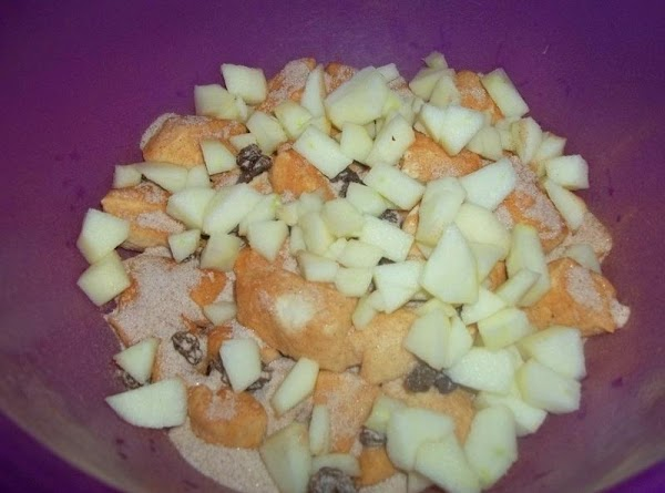 Add cinnamon, sugar,  butter, apple, and raisins and carefully toss so all is...