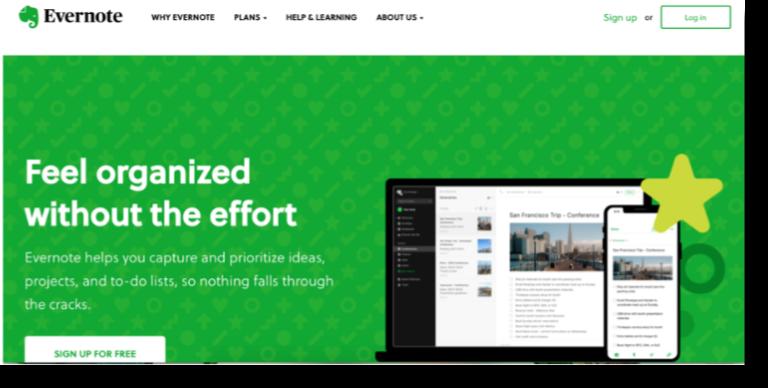 Evernote Saas website design inspiration