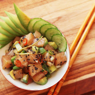 Hamachi Poke With Cucumber and Avocado.