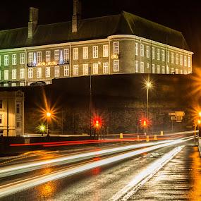 Carmarthen bridge, Wales by Sean Kirkhouse - City,  Street & Park  Night ( building, cars, bridge, low, painting, light,  )
