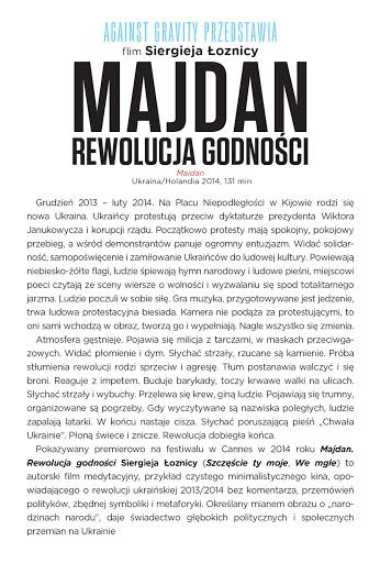 Tył ulotki filmu 'Majdan. Rewolucja Godności'
