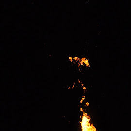 FirE by Savannah Eubanks - Abstract Fire & Fireworks ( moon, night, fire )