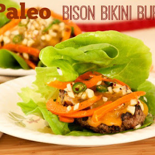 Paleo Bikini Burger with Spiced Sweet Pepper Slaw
