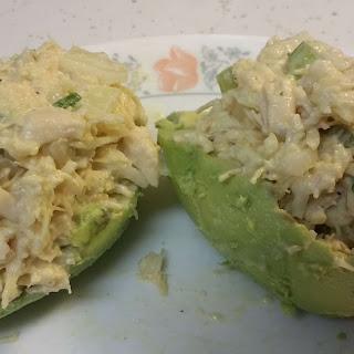 Chicken Salad with Avocado Halves Cups.