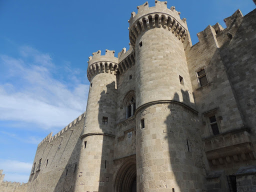 A castle looms over visitors to Rhodes, Greece.