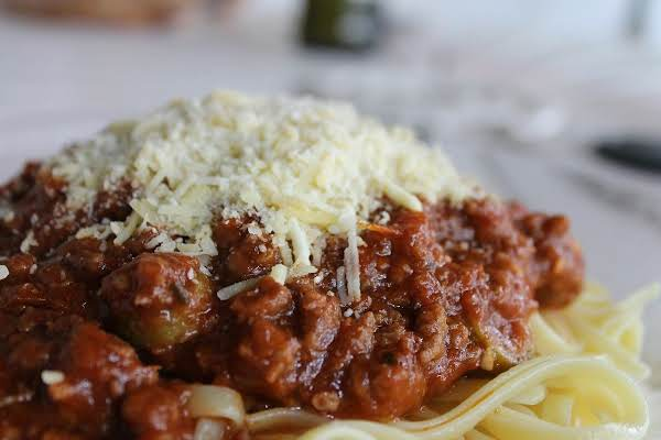 A Serving Of The Best Spaghetti Sauce, Over Pasta.