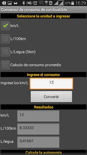 Conversor consumo combustible