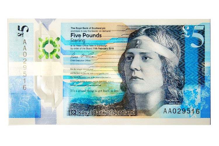 "5 pound  Scotland mints bills that are accepted widely across the U.K. After a series of polls and focus groups, the country chose the theme ""the fabric of nature"" for its new £5 and £10 notes. The fiver features the writer Nan Shepherd (1893-1981), best-known for her book The Living Mountain."