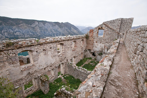 Kotor-ruins-4.jpg - Ruins, part of the  Castle of San Giovanni (or the Castle of St. John) at the summit of the Ladder of Kotor.