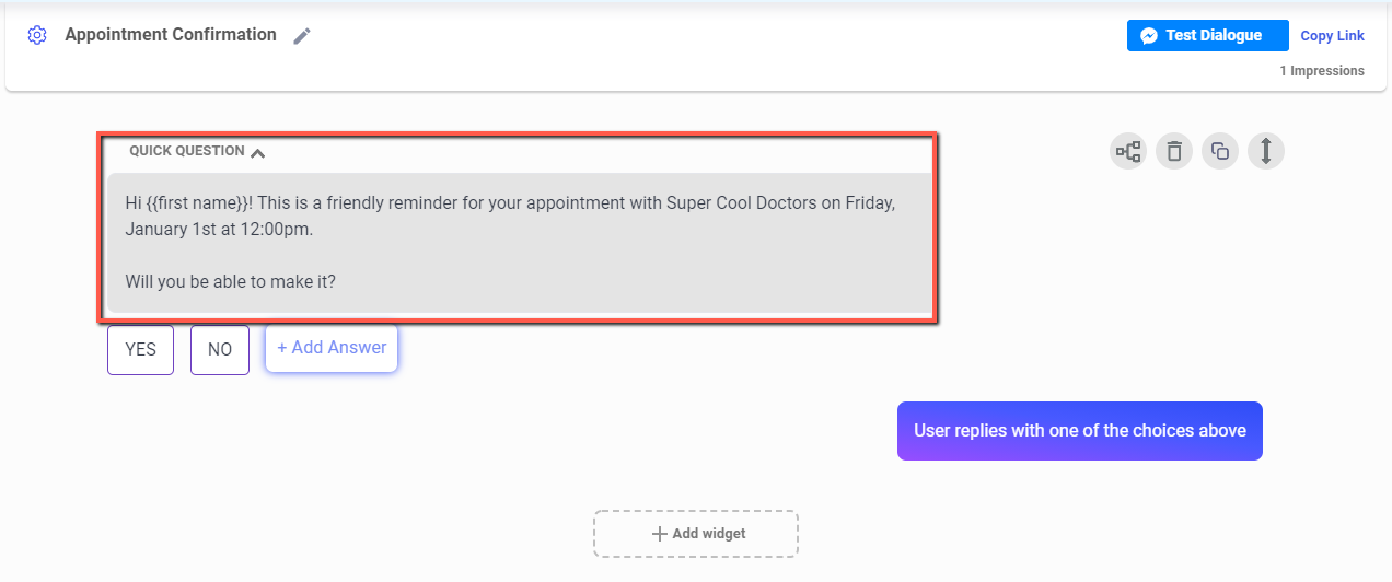 appointment confirmation workflow Dialogue
