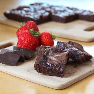 Balsamic Vinegar Strawberry Fudge Brownies.