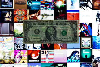 Photo: Requirement 2: Money > Music  The background is actually the screensaver for OS X--a tiled screen that changes the album artwork intermittently. Lighting was purely backlit from the monitor--monitor screen was both the lighting and the background. As for the message, profits > music.  The dollar bill originally came out washed out, so contrast was boosted to bring out the lines of the bill, as well as decreased brightness. Since the lighting was relatively low with a high ISO, I tripod mounted the camera.