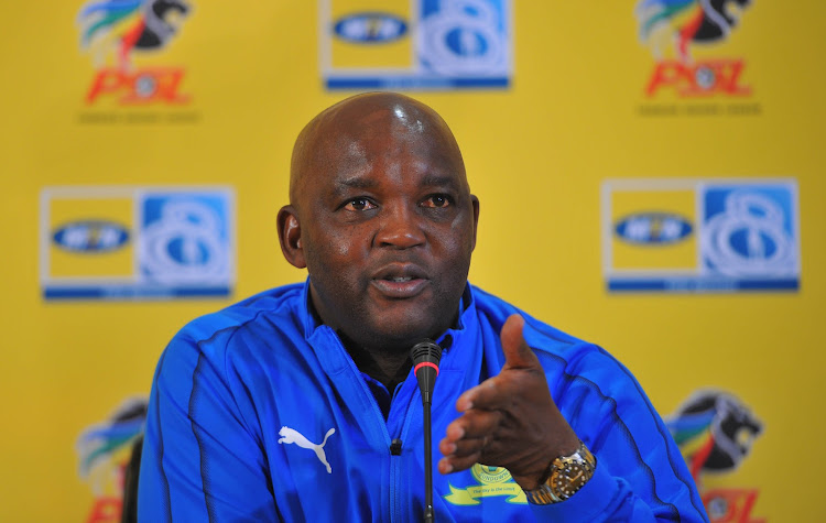 Mamelodi Sundowns coach Pitso Mosimane speaks during a press conference at the Premier Soccer League offices in Parktown, north of Johannesburg, on August 30 2018.