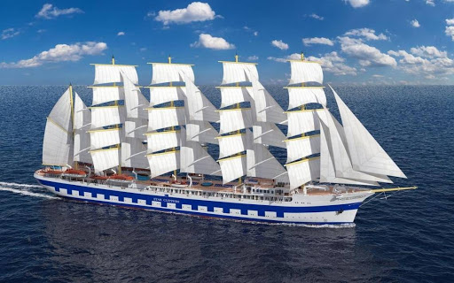 A digital rendering of the five-mast tall ship Flying Clipper, launching in late 2017.