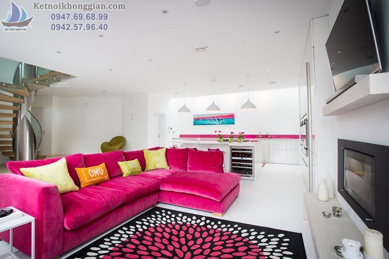 thiết kế nội thất phòng khách với màu hồng chủ đạo