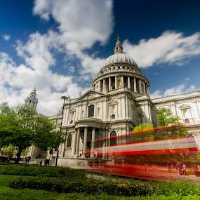 Saint Paul's Cathedral by Andrej Folo - Buildings & Architecture Public & Historical ( clouds, building, uk, bus, moving, saint paul's cathedral, green, street, architecture, trevel, city, england, sky, red, london, blue, movement, cathedral, long exposure,  )