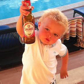 Cheers by Steve Weston - Instagram & Mobile iPhone ( holiday, beer, pool, sagres, boy )