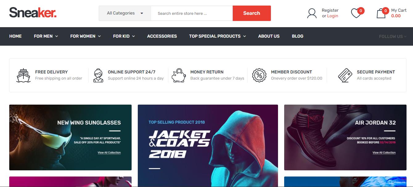 Sneaker - Opencart ecommerce theme