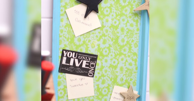 Don't throw away your old cookie sheet. Transform it into a cute memo board instead