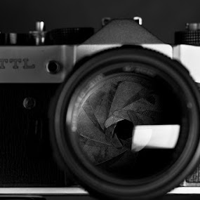 Russian 35mm film Zenit-TTL camera by Max Mayorov - Artistic Objects Other Objects ( film, old, b&w, black and white, camera, 35mm, retro, ttl, lens, zenit, russian, diaphragm, dark )