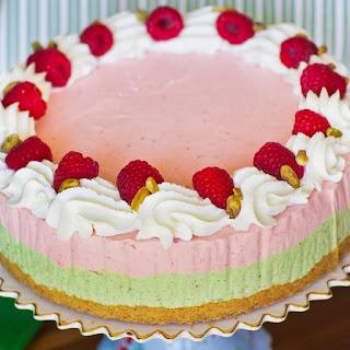 Pistachio Raspberry Ice Cream Cake.