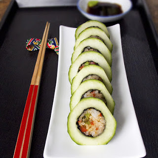 Cucumber Vegetable Maki Rolls.