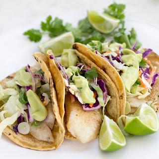 Tilapia Fish Tacos with Coconut Avocado Crema.