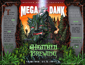 """Photo: Brand new label art I did for Heathen Brewing's Imperial IPA """"Mega Dank."""" Great fun as always working on Heathen labels."""