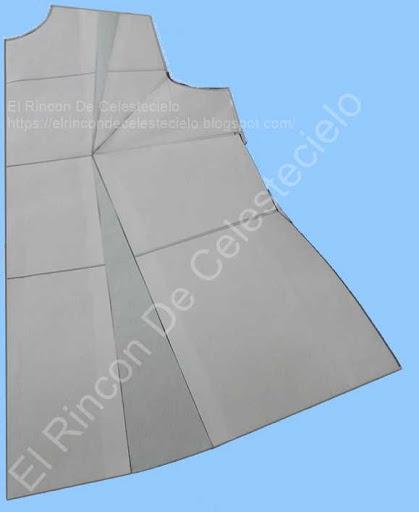 Patrón básico delantero de blusa con pinza de ajuste de sisa eliminada por el hombro y pinza de costado trasladada a la pinza vertical